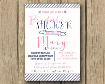 ... pink and navy invite, printable bridal shower invite, FAST TURNAROUND
