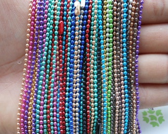 100 pcs Assorted colors(Mixed color) Ball Chain Necklaces - 27inch, 2.0mm