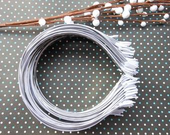 20pcs White Headband with satin 5mm Wide