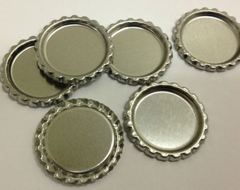 400 New Flat Flattened Linerless Silver Chrome Bottle Cap Crowns caps No Liners