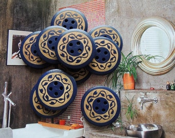 10Pcs  28mm blue  Wood button 4 holes( W098)