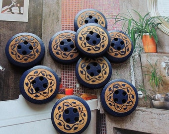 12Pcs  20mm blue  Wood button 4 holes( W100)