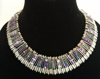 Safety Pin Necklace in Iridescent Purple