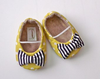 EDEN baby girl shoes- yellow green polka dot with navy blue stripe bow