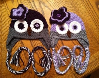 Girly Crocheted Baby Owl Hat