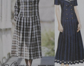 McCalls Pattern 6771 Misses' Pleated Drop Waist Dress Uncut Size 10-12-14