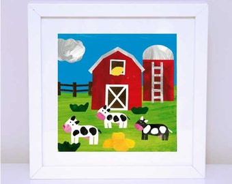 Art Print for Kids, Kids bedroom or Nursery wall art, Bedroom Decor: At the Farm - Hungry Cows