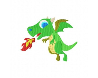 INSTANT DOWNLOAD Fire Breathing Dragon Machine Embroidery Design