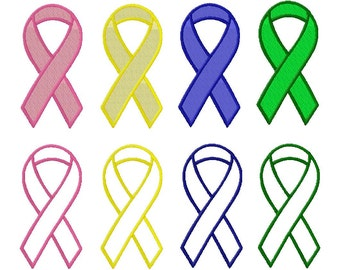 INSTANT DOWNLOAD Pink Awareness Ribbon Mega Pack Machine Embroidery Design Includes BOTH Applique and Filled Stitch