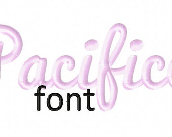 INSTANT DOWNLOAD Pacifico Machine Embroidery Font Set Includes 3 Sizes
