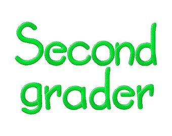 INSTANT DOWNLOAD Second Grader Machine Embroidery Font Set Includes 3 Sizes