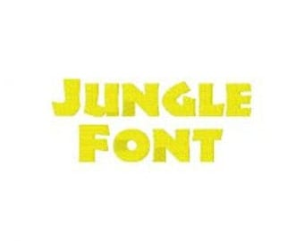 INSTANT DOWNLOAD Jungle Font Machine Embroidery Font Set Includes 3 Sizes