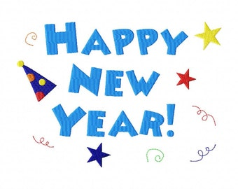 INSTANT DOWNLOAD Happy New Year Machine Embroidery Design
