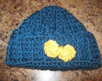 Crocheted Toddler Girls Hat with Bow / Ready to Ship