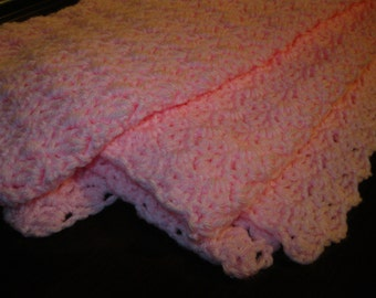 Crochet Pink Baby Blanket or Lap Blanket / Ready to Ship