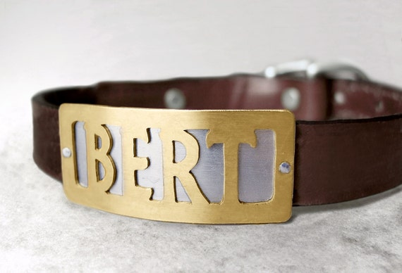 Custom Dog Collar with Metal Name Plate Personalized Simple