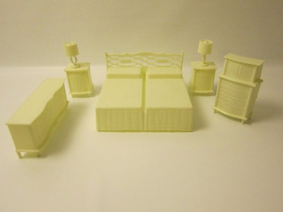 Vintage plastic mpc dollhouse furniture 7 by foxlaneminiatures Plastic bedroom furniture