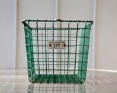 Vintage Green Wire Locker Basket - Medart Lockers, Gym / Pool Storage