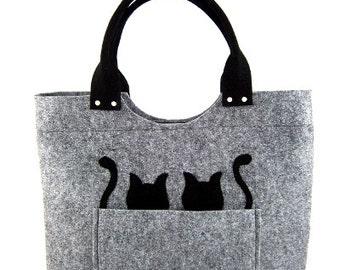Felt purse Cats handbag Bag for women Gray bag Felt bag Designer handbag Felted bag Modern