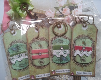 vintage look large gift tag with lace and velvet ribbon