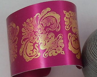 Burgundy and Gold Damask Anodised Aluminium Cuff