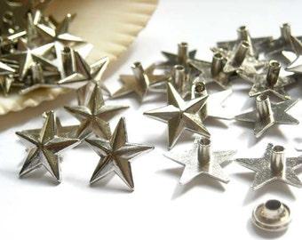 25 Star Rivet Studs Silver Tone Jewelry Supplies SRSST14MM-25D2