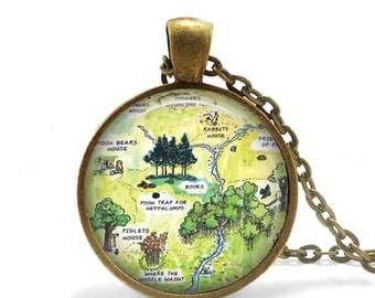 """Winnie the Pooh Necklace, Hundred Acre Wood Map Glass Pendant, with 24"""" Chain and Gift Bag"""