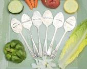 Spoon Garden Markers - Set of Six - Veggie Labels - Garden Art - Vegetables - Antique Silver Plated - Hand Stamped - Rustic - Custom