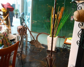 """Coat Hanger/Rack, made in wrought iron hand forged, base 20""""x20"""" height 80"""", naturally oxidized"""