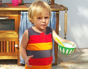 Jersey sleeveless tee shirt, blue, red and orange strips, boy