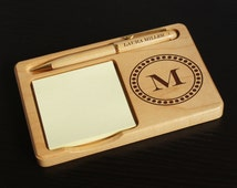 Personalized Desktop Memo Holder with Monogram Design Options and Font Selection (Choose Ballpoint Pen, Letter Opener, or Mechanical Pencil)