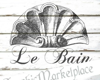 Bath Shabby Le Bain Ornament Instant Download French Transfer digital collage sheet graphic printable No. 310
