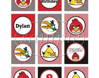 Set Of 12 Personalized Angry Birds Cupcake Toppers - Angry Birds Birthday - Angry Birds Party
