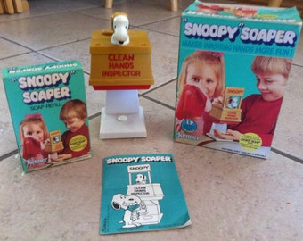Vintage Snoopy Soaper Hand Soap Dispenser with Soap Refill and Box