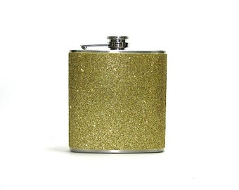 Gold Sparkly Glitter 6 oz Size Stainless Steel Liquor Hip Flask Flasks Weddings Bridesmaids