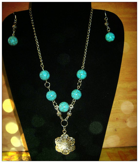 Handmade Silver Jewelry Set with Turquoise & Flower by IreneDesign2011