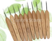 Set of 10 pcs Metal Crochet Hooks with Bamboo Handles 0.5-2.75 mm: 0.5mm/0.75mm/1.0mm/1.25mm/1.5mm/1.75mm/2.0mm/2.25mm/2.5mm/2.75mm