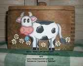 This funny Original Handpainted Small Cow Painted on an Antique Wooden Butter Mold OFG FAAP Farm Primitive Country