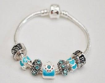 Girls Blue Purse Charm Bracelet