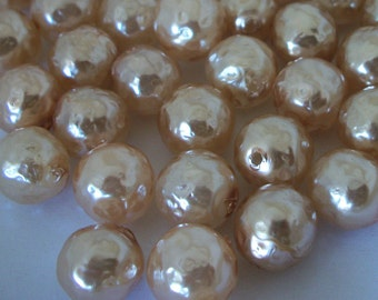 144pc / 1 gross Vintage  Miriam Haskell glass baroque pearl 12mm half drill