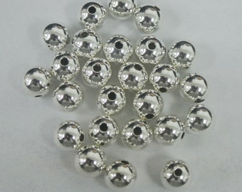 10 Sterling Silver 7mm Round Seamless Smooth Beads