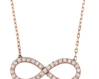 "Infinity CZ Necklace in 925 Sterling Silver 16 + 1 "" Chain"