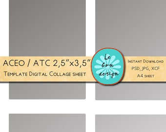 ACEO / ATC template 2,5 x 3,5 inch diy digital collage sheet jpg, psd, gimp file instant download