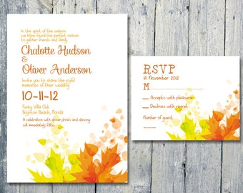 Printed Card | 50-75 Sets | Autumn Leaves Wedding Invitation and Reply Card Set - Wedding Stationery - ID112