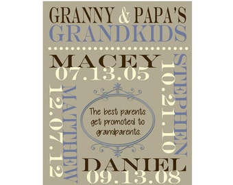 Personalized Grandparents Wall Art. Grandparent Anniversary Gift, Grandmother and Grandfather Gift, Grandchildrens Names