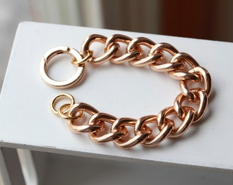 ROSE GOLD Smooth Chain Bracelet -Chunky Large Chain Link Bracelet - Chain bracelet