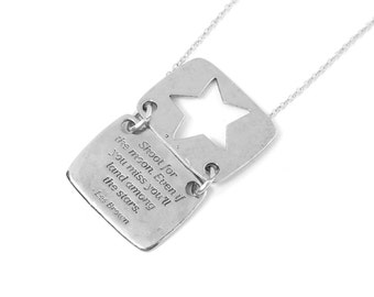 """Star Necklace in Silver -  """"Shoot for the Moon"""" Inspirational Quote / Love Notes Collection"""