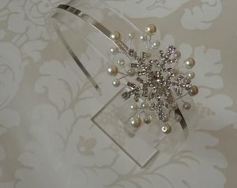Silver Diamante Crystal and pearl spray snowflake bridal side hair band