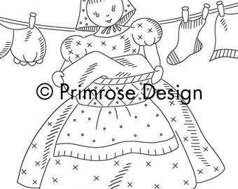 Vintage Hand-Embroidery Pattern PDF - Clothespin Bag Design