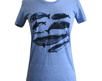 Whale Narwhal T-Shirt - Nautical Sea Life Shirt - American Apparel Ladies Tee ( Available in sizes S, M, L, XL)